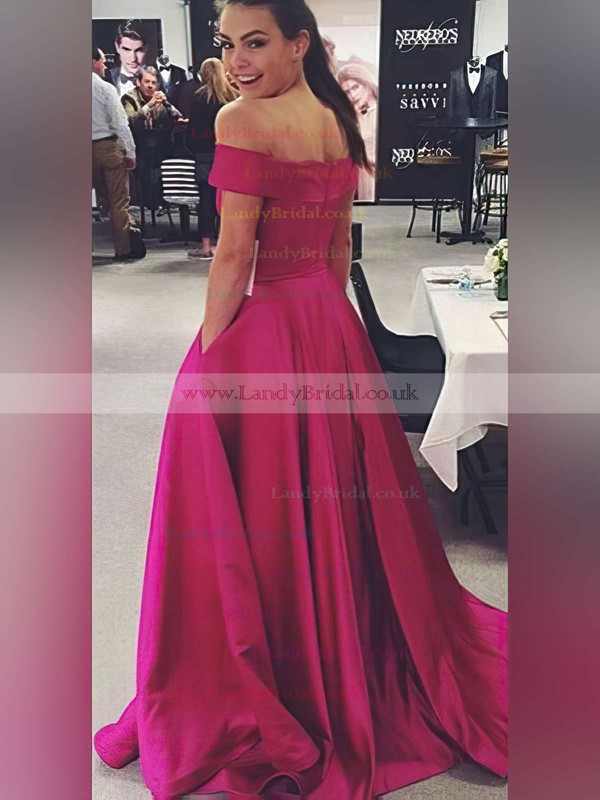 Ball Gown Off-the-shoulder Satin Sweep Train Pockets Prom Dresses #LDB020104481