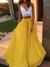 A-line V-neck Lace Chiffon Floor-length Prom Dresses #LDB020104484