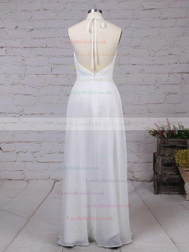 A-line V-neck Chiffon Floor-length Split Front Prom Dresses #LDB020104497