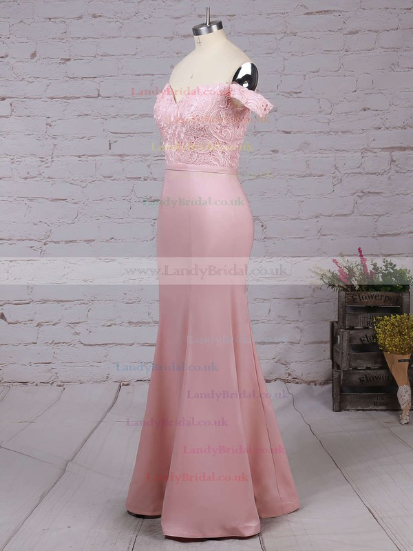 Trumpet/Mermaid Off-the-shoulder Lace Silk-like Satin Floor-length Sashes / Ribbons Prom Dresses #LDB020104503