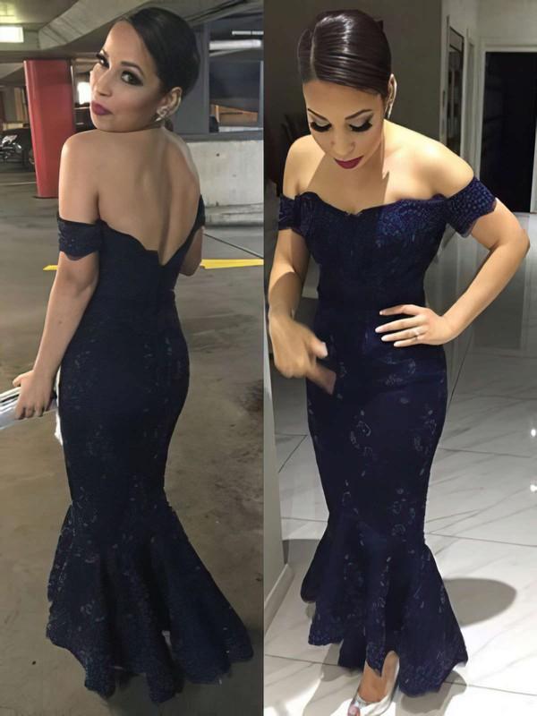 Trumpet/Mermaid Off-the-shoulder Silk-like Satin Asymmetrical Appliques Lace Prom Dresses #LDB020104509