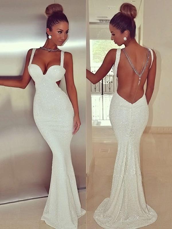 Trumpet/Mermaid V-neck Sequined Sweep Train Prom Dresses #LDB020104513