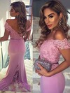 Trumpet/Mermaid Off-the-shoulder Jersey Sweep Train Appliques Lace Prom Dresses #LDB020104517