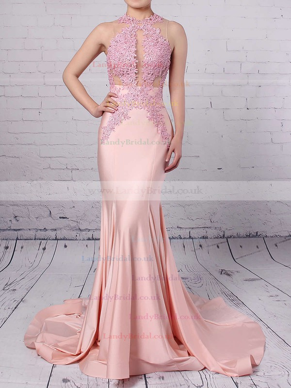 Trumpet/Mermaid Scoop Neck Jersey Sweep Train Appliques Lace Prom Dresses #LDB020104520
