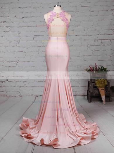Trumpet/Mermaid Scoop Neck Jersey Sweep Train Appliques Lace Prom Dresses #LDB020104520