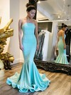 Trumpet/Mermaid Strapless Jersey Sweep Train Prom Dresses #LDB020104521