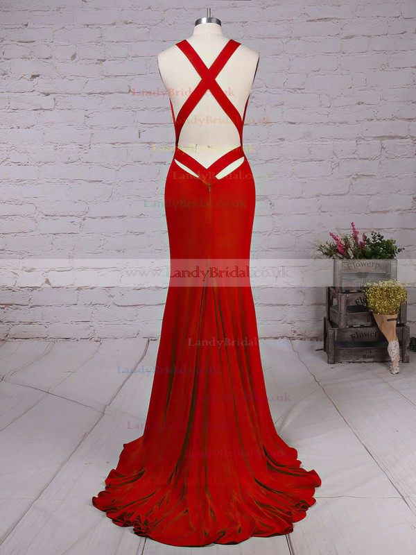 Trumpet/Mermaid V-neck Jersey Sweep Train Prom Dresses #LDB020104522