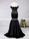 Trumpet/Mermaid Off-the-shoulder Silk-like Satin Sweep Train Ruffles Prom Dresses #LDB020104524