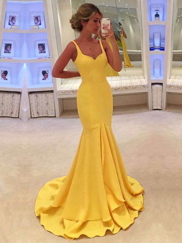 Trumpet/Mermaid V-neck Silk-like Satin Sweep Train Ruffles Prom Dresses #LDB020104529