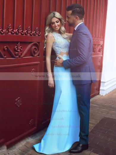Trumpet/Mermaid Scoop Neck Lace SatinSweep Train Appliques Lace Prom Dresses #LDB020104536