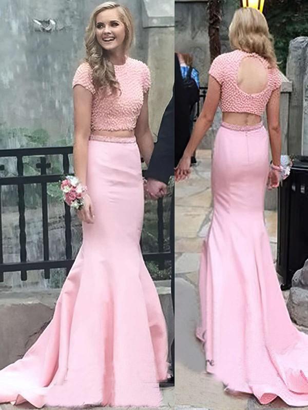 Trumpet/Mermaid Scoop Neck Satin Sweep Train Pearl Detailing Prom Dresses #LDB020104541