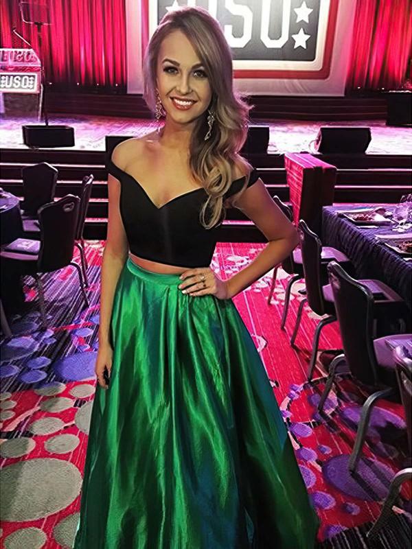 A-line Off-the-shoulder Satin Floor-length Prom Dresses #LDB020104542