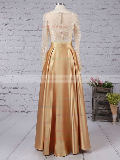 A-line Scoop Neck Lace Satin Floor-length Prom Dresses #LDB020104577