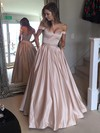 Ball Gown Off-the-shoulder Satin Floor-length Beading Prom Dresses #LDB020104578