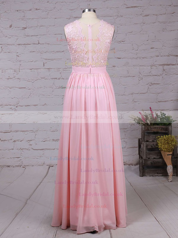 A-line Scoop Neck Lace Chiffon Floor-length Sashes / Ribbons Prom Dresses #LDB020104579