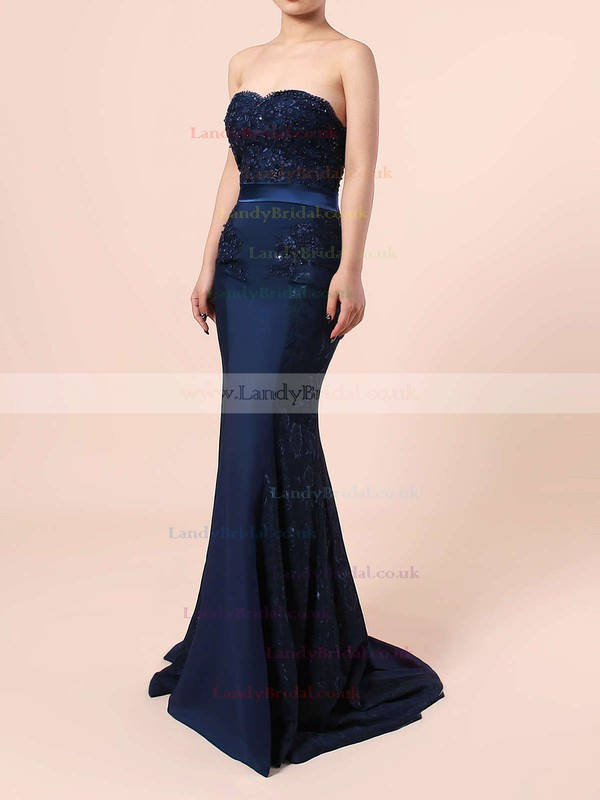 Trumpet/Mermaid Sweetheart Silk-like Satin Sweep Train Appliques Lace Prom Dresses #LDB020104580