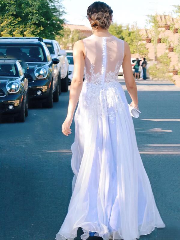 A-line Scoop Neck Chiffon Floor-length Appliques Lace Prom Dresses #LDB020104582