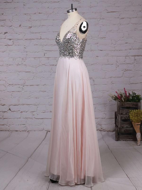 A-line V-neck Chiffon Floor-length Beading Prom Dresses #LDB020104583