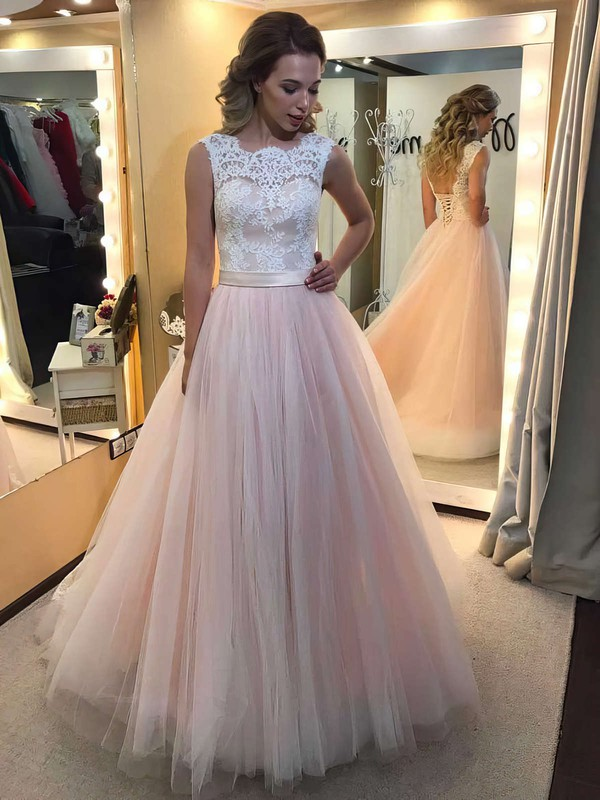 Ball Gown Scalloped Neck Tulle Floor-length Appliques Lace Prom Dresses #LDB020104585
