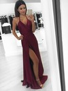 A-line Halter Silk-like Satin Floor-length Split Front Prom Dresses #LDB020104588