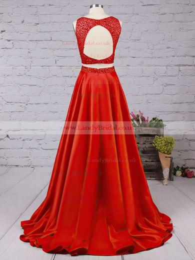 A-line Scoop Neck Satin Floor-length Beading Prom Dresses #LDB020104590