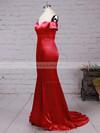 Trumpet/Mermaid Off-the-shoulder Silk-like Satin Sweep Train Split Front Prom Dresses #LDB020104594