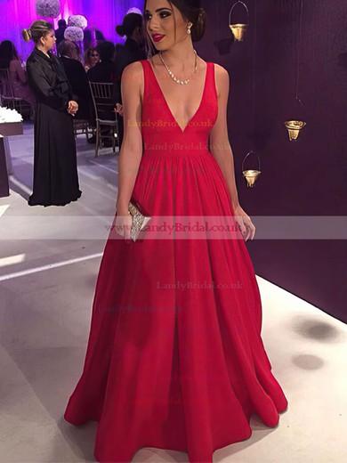 Ball Gown V-neck Silk-like Satin Floor-length Bow Prom Dresses #LDB020104603