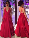 Ball Gown V-neck Silk-like Satin Floor-length Bow Prom Dresses #LDB020104603