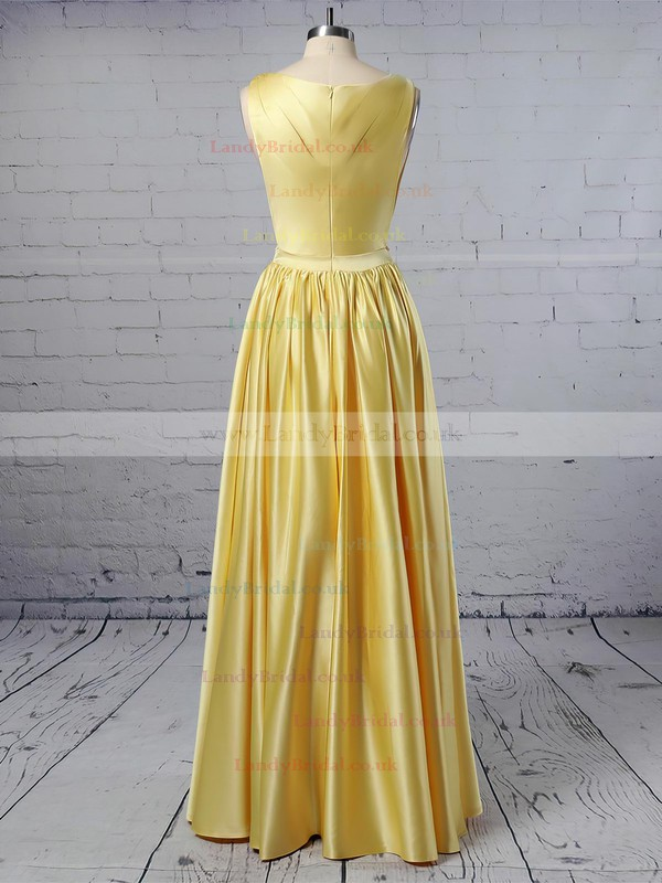 A-line V-neck Satin Floor-length Ruffles Prom Dresses #LDB020104605