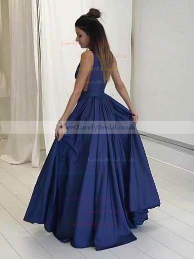 A-line V-neck Satin Floor-length Ruffles Prom Dresses #LDB020104605