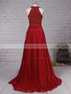 A-line Scoop Neck Chiffon Floor-length Beading Prom Dresses #LDB020104608