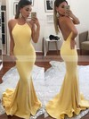 Trumpet/Mermaid Halter Jersey Sweep Train Prom Dresses #LDB020104609
