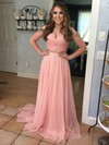 A-line Sweetheart Chiffon Sweep Train Beading Prom Dresses #LDB020104613