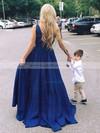 A-line V-neck Silk-like Satin Floor-length Prom Dresses #LDB020104807