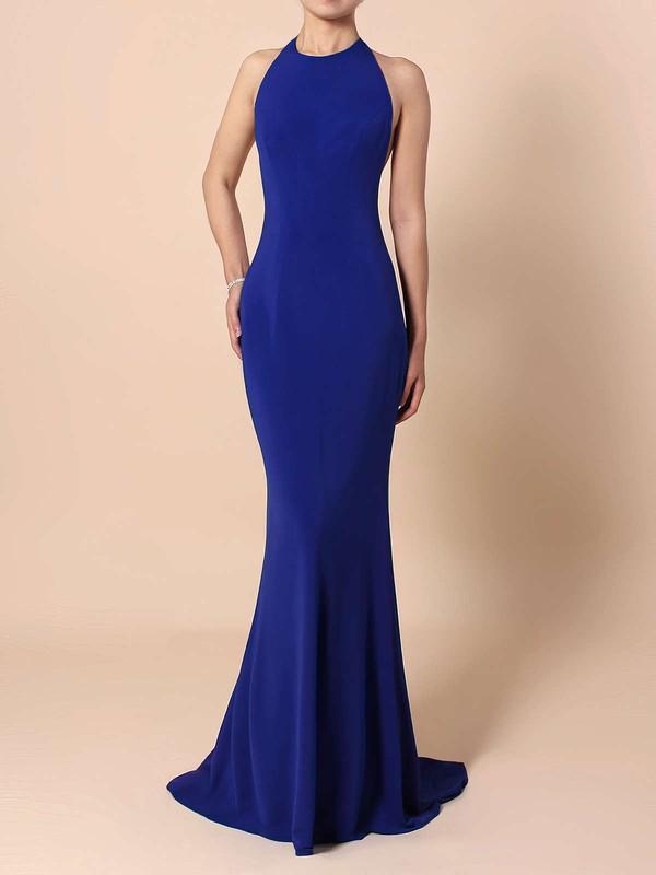 Trumpet/Mermaid Halter Jersey Floor-length Sequins Prom Dresses #LDB020104808