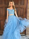 A-line Off-the-shoulder Tulle Floor-length Appliques Lace Prom Dresses #LDB020104809