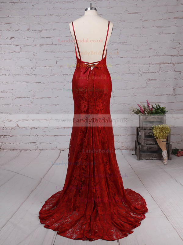 Trumpet/Mermaid V-neck Lace Sweep Train Lace Prom Dresses #LDB020104811