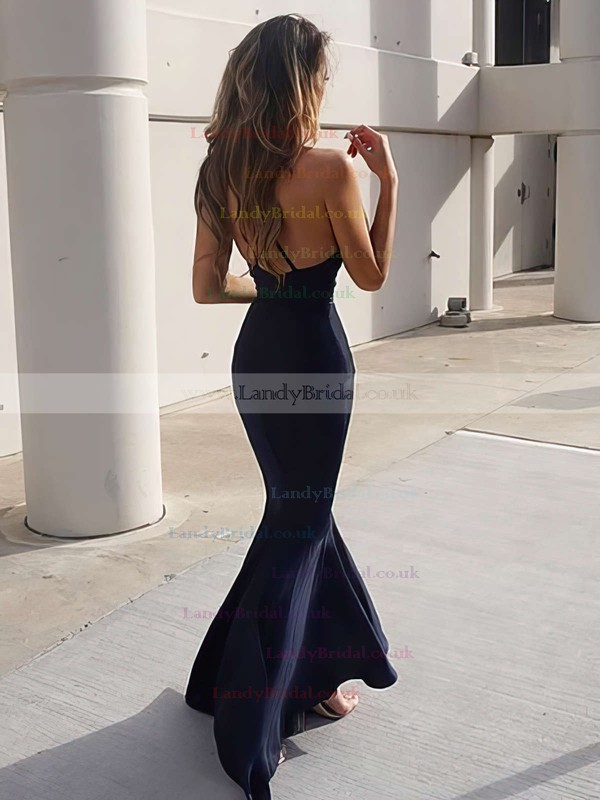 Trumpet/Mermaid V-neck Silk-like Satin Sweep Train Ruffles Prom Dresses #LDB020104812