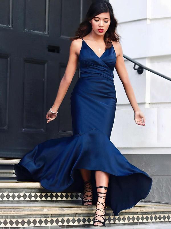 Trumpet/Mermaid V-neck Silk-like Satin Sweep Train Ruffles Prom Dresses #LDB020104812