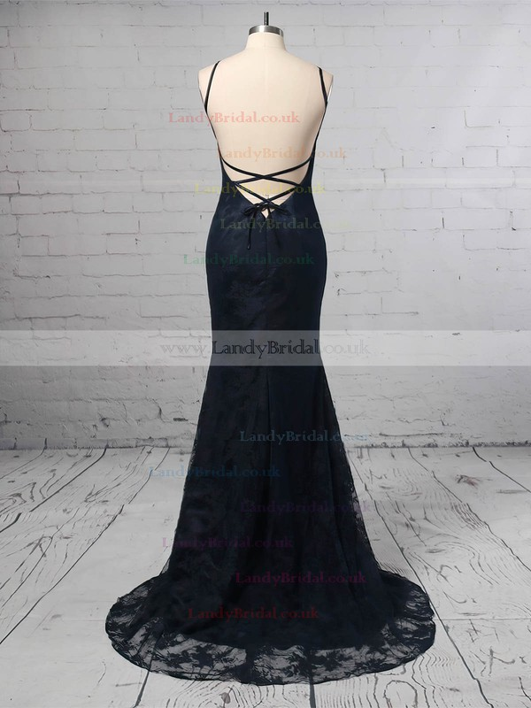 Sheath/Column Scoop Neck Lace Sweep Train Prom Dresses #LDB020104813