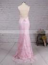 Sheath/Column Scoop Neck Lace Sweep Train Prom Dresses #LDB020104813
