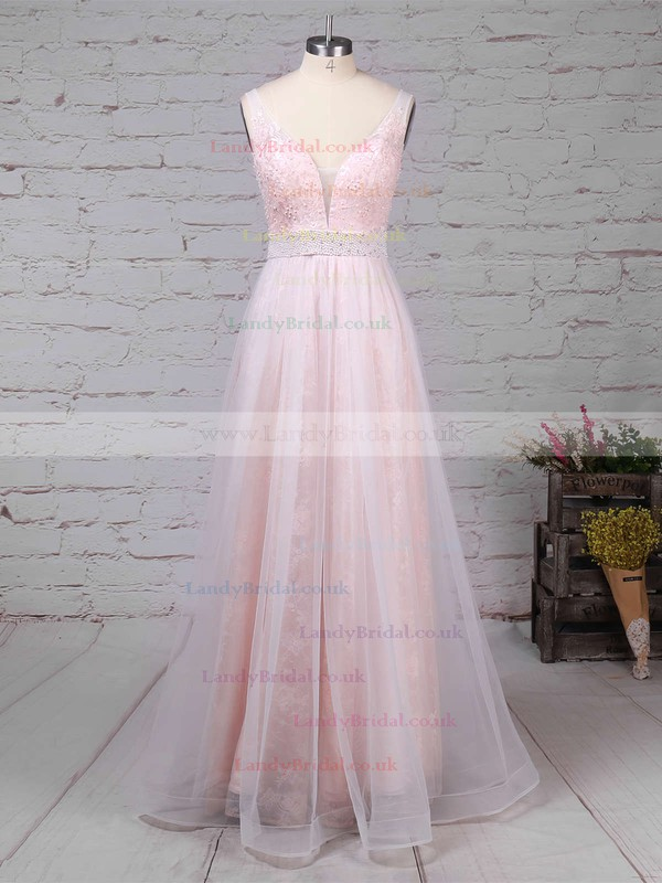 Princess V-neck Lace Tulle Floor-length Crystal Detailing Prom Dresses #LDB020104814