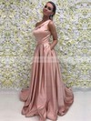 A-line One Shoulder Satin Sweep Train Sashes / Ribbons Prom Dresses #LDB020104815