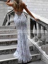 Trumpet/Mermaid V-neck Tulle Sweep Train Sequins Prom Dresses #LDB020104817
