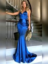 Trumpet/Mermaid V-neck Silk-like Satin Sweep Train Ruffles Prom Dresses #LDB020104819
