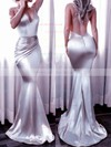 Trumpet/Mermaid V-neck Silk-like Satin Sweep Train Ruffles Prom Dresses #LDB020104819