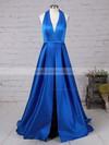 A-line Halter Satin Floor-length Split Front Prom Dresses #LDB020104823