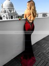 Trumpet/Mermaid Halter Velvet Sweep Train Appliques Lace Prom Dresses #LDB020104830