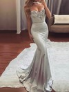 Trumpet/Mermaid Sweetheart Silk-like Satin Sweep Train Beading Prom Dresses #LDB020104831