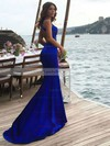 Trumpet/Mermaid Scoop Neck Silk-like Satin Sweep Train Prom Dresses #LDB020104835
